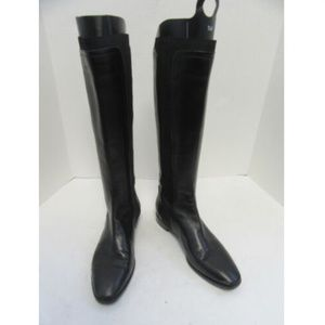 SERGIO ROSSI black leather knee high boots sz 37